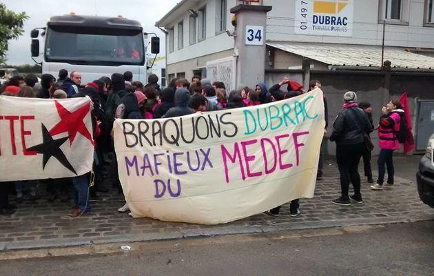 Action de blocage ce matin à St-Denis sur les établissements Dubrac jeudi 19 mai