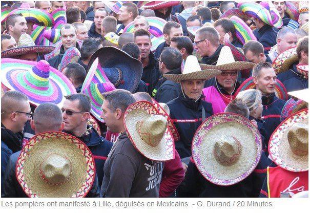 """Les pompiers du Nord fâchés d'être traités """"d'armée mexicaine"""" :    le sombrero a remplacé le casque"""