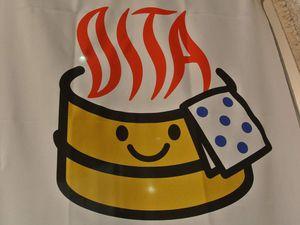 Photo du pamphlet de l'hôtel, car bien sûr interdiction d'en prendre à l'intérieur, et emblême de la préfecture d'Oita que j'aime bien, avec le nom en vapeur de Onsèn!