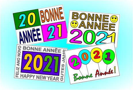 Cartes 2021 à colorier Niveau 1