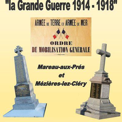 2015 - Centenaire de la guerre de 1914 - 1918, communes de Mareau-aux-Prés et Mézières-lez-Cléry
