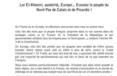 Loi El Khomri et 49.3 : lettre de Fabien Roussel aux parlementaires de gauche et écologistes de la région Hauts de France