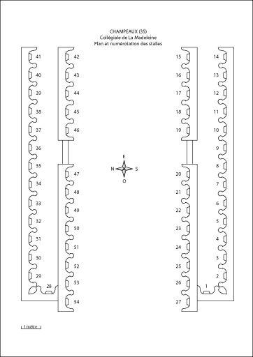 Plan  et numérotation des stalles de Champeaux par Florence Piat (2012).