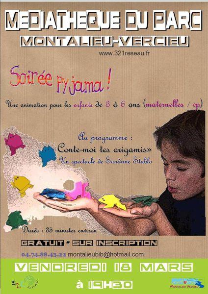 """Soirée pyjama pour les 3-6 ans : spectacle """"conte-moi tes origamis"""" Vendredi 18 mars"""