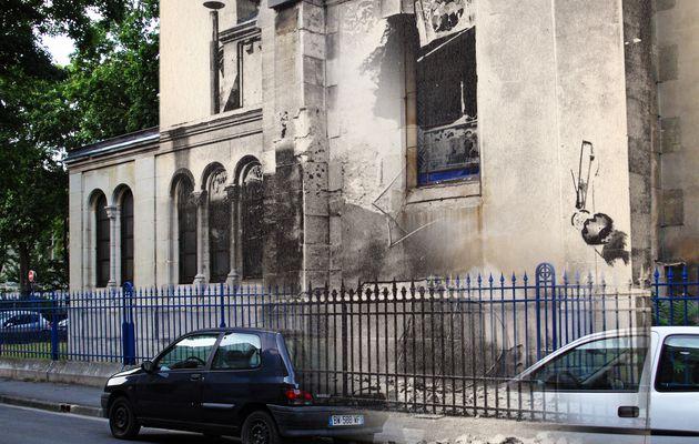 Trou d'obus sur un vitrail de l'Eglise Saint-André