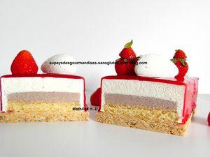 Tarte aux fraises et yaourt d'après Julien Chamblas : sablé noisette, biscuit citron vert, crémeux fraise, mousse yaourt, chantilly vanille et glaçage fraise