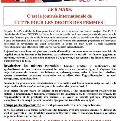 Adresse de la CGTR aux travailleuses et aux travailleurs à l'occasion du 8 mars 2021