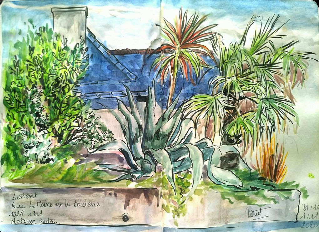 Diurne : croquis aquarellés rapides ou pastels lors de sorties dans mon périmètre imposé, ou au jardin . 2 ème Confinement