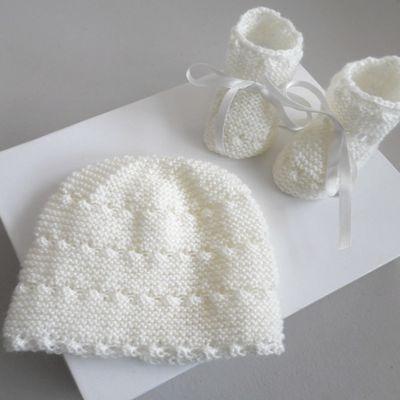 tricot bebe, bonnet chaussons bb mixte, tricotes main, fait main