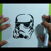 Como dibujar un casco de stormtrooper paso a paso - Star Wars | How to draw a stormtrooper