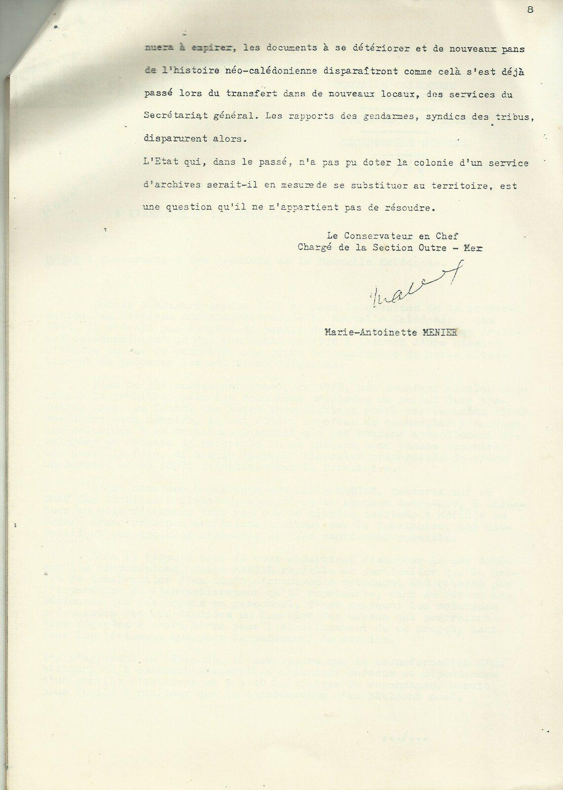 Le rapport MENIER sur le problème de la conservation des archives de la Nouvelle-Calédonie (1981).