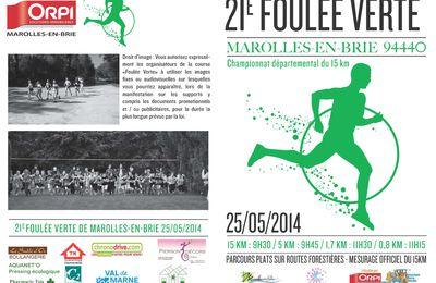 Bulletin d'inscription à la Foulée Verte 2014 - 21ème édition - le 25/05/2014