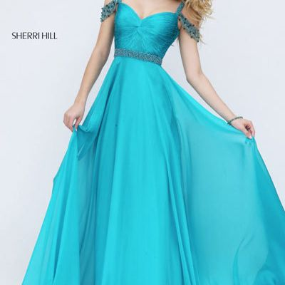 Turquoise Sherri Hill By 50086 Beaded Prom Dress 2016