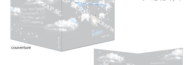 Le faire part de naissance du petit Robin … sous le thème des nuages !
