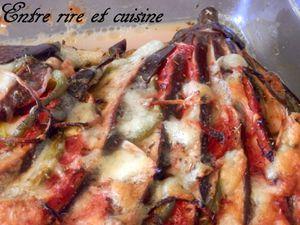 Eventail d'aubergine gratiné {parmesan - mozzarella - épices pizza}