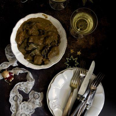 Blanquette de veau au champagne et aux cèpes