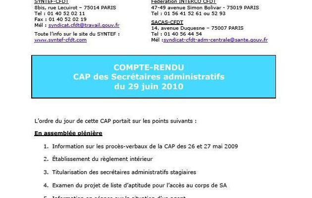 SYNTEF-CFDT - Compte rendu de la CAP des Secrétaires Administratifs du 29 juin 2010