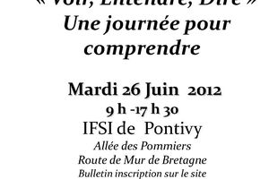 Voir, Entendre, Dire - Une journée pour comprendre - 26 juin 2012