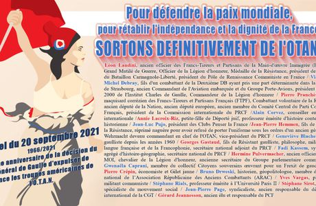 Pour défendre la paix mondiale, pour rétablir l'indépendance et la dignité de la France, sortons définitivement de l'OTAN ! [Signez l'appel]