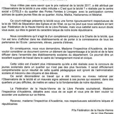 Laïcité : la LP87 s'adresse à l'Inspection Académique le 17 janvier