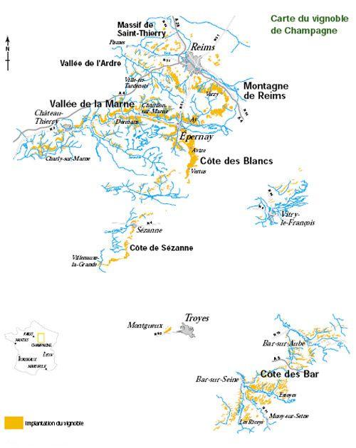 Cartes des vignobles ou régions vitivinicoles de France, avec les AOC (Appellations d'Origine Controlée) par région