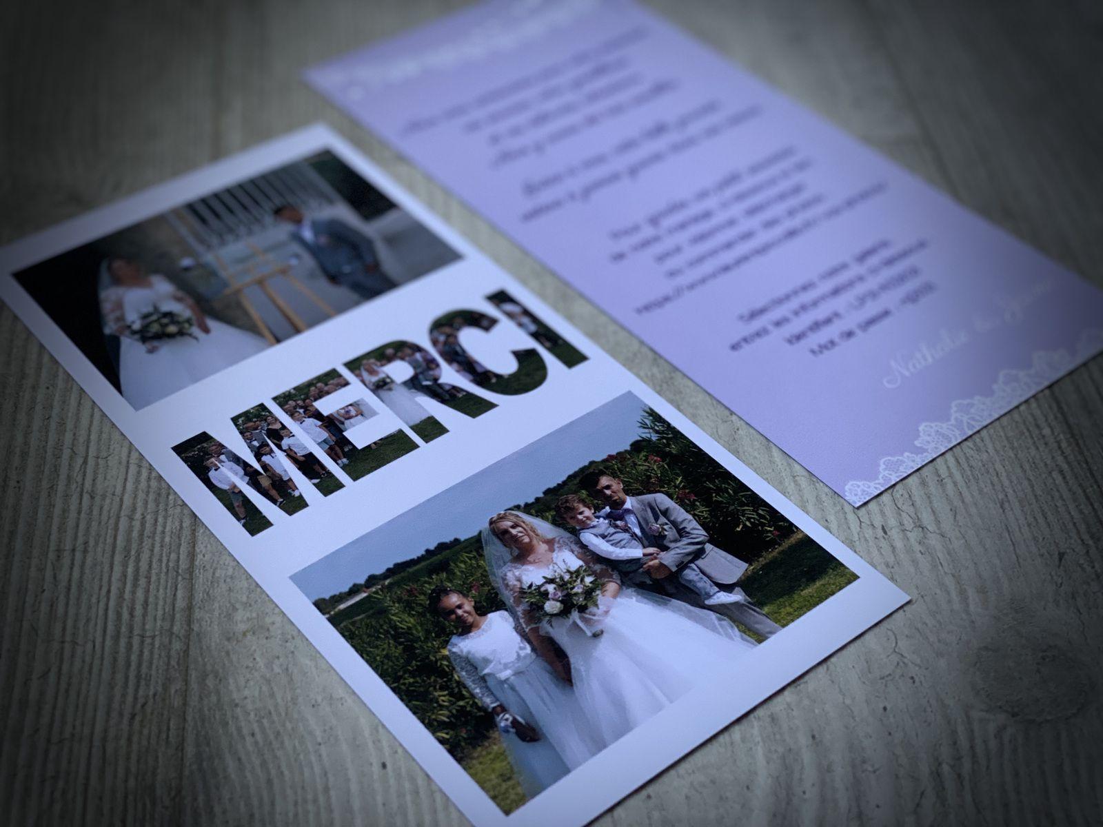 papeterie carte remerciements assortie au faire part de mariage #efdcbysoscrap RV°21x10cm dentelle photos merci texte et couleur à personnaliser sur mesure création originale
