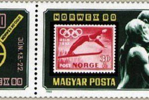 Hongrie timbre norvège JO Oslo