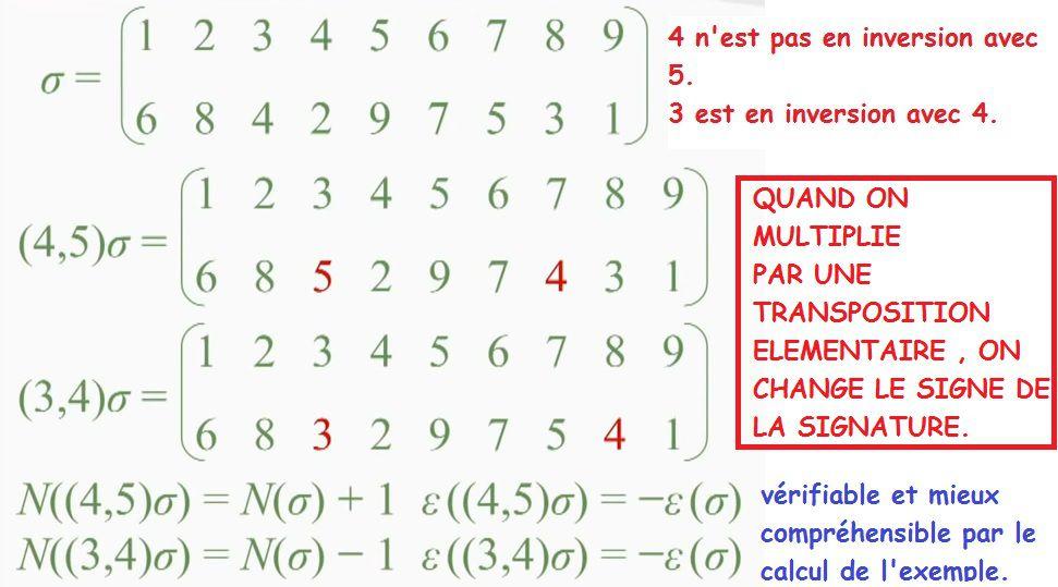 POST BAC - GROUPE SYMETRIQUE - Définition de l'inversion - Signature - Groupe alterné