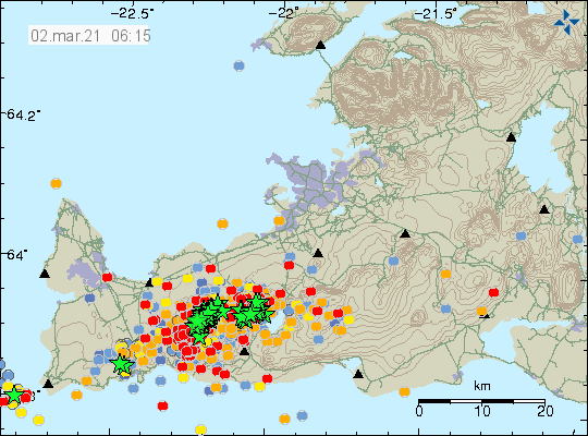 Reykjanes peninsula - location and magnitude of the seisms - Doc. IMO at 02.03.2021 / 08h35