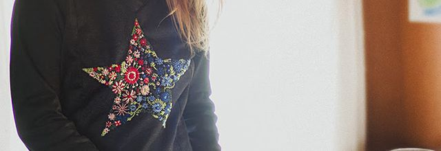 Embroidered star.