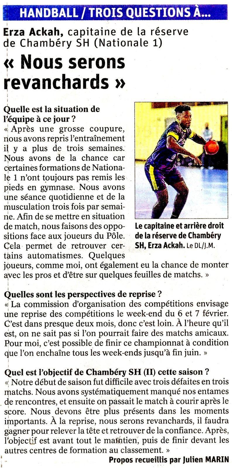 N1M Capitaine de l'équipe de N1 de CHAMBERY Ezra ACKAH parle  de la suite du championnat, article du DL 14122020