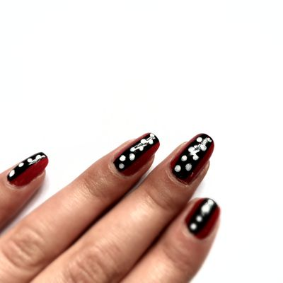 Nail Art Pois pour mariage vintage ! Inspiration Robe Rockabilly
