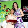 Dia Mirza at Poddar School in Mumbai for Art and Craft competition