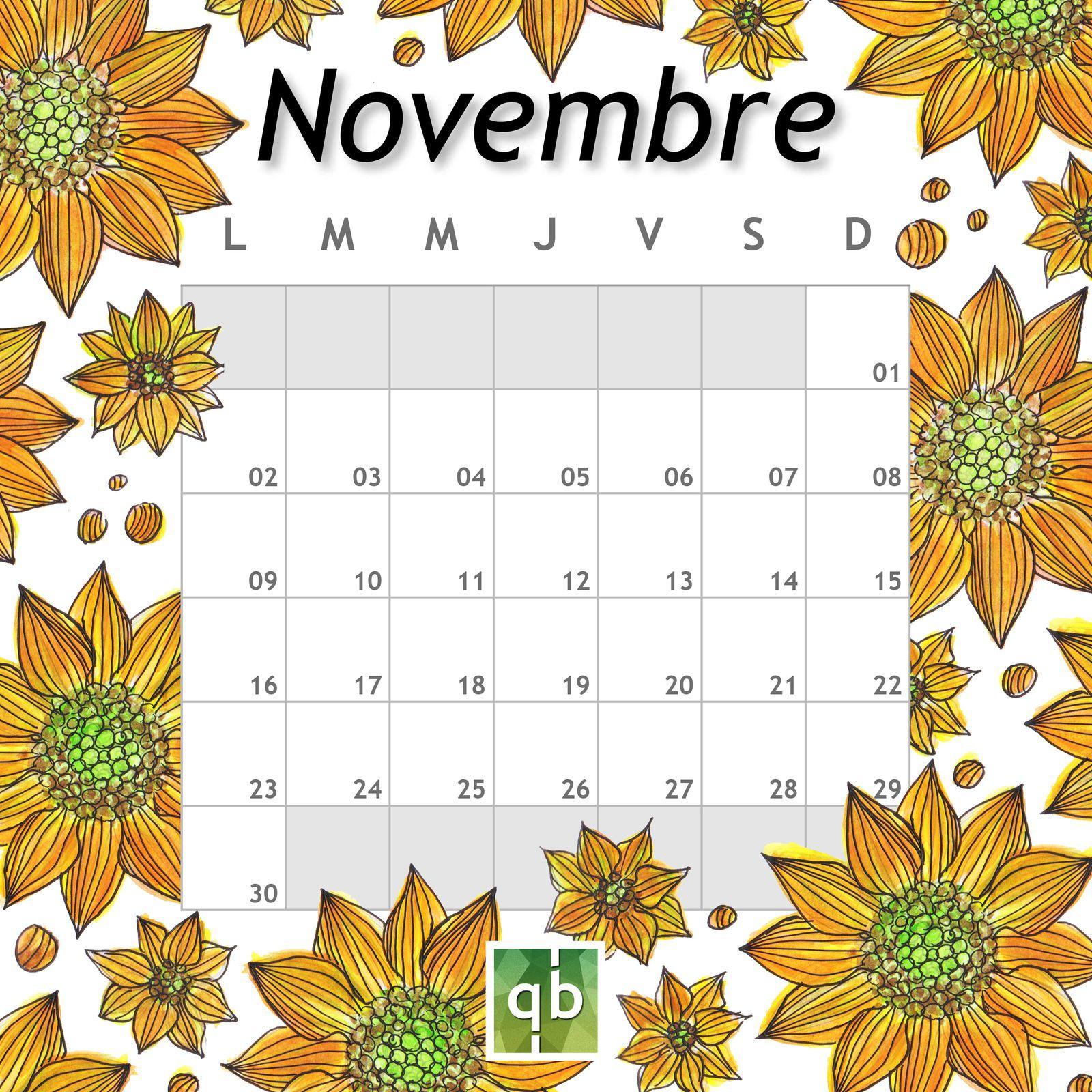 Calendrier Novembre Hélianthus 2020 QB-Paysages