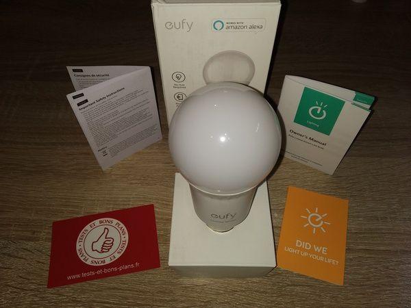 test de l'ampoule connecté E27 compatible commande vocale eufy Lumos Smart Bulb @ Tests et Bons Plans