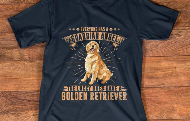 Official Everyone Has A Guardian Angel The Lucky Ones Have A Golden Retriever shirt