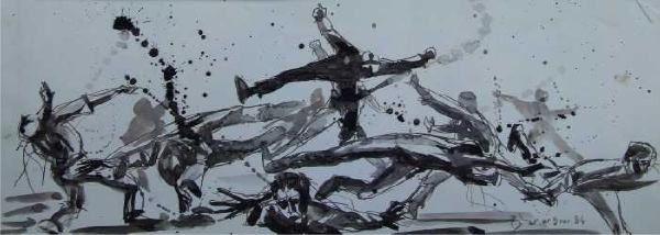 Un des gros leitmotives de ma peinture dans les années 80;  documenté sur le terrain : j'ai donné de ma personne.
