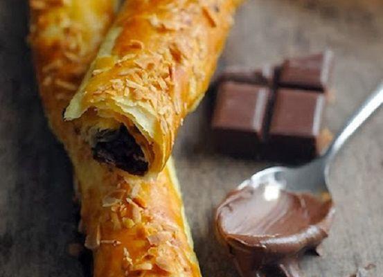 Allumettes croustillantes au Nutella et au chocolat noir