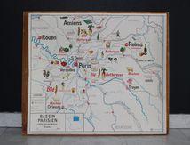 Affiche scolaire Carte économique Bassin Parisien ou Normandie N7 N8 Vintage