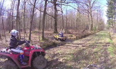 quad can am polaris dans les bois