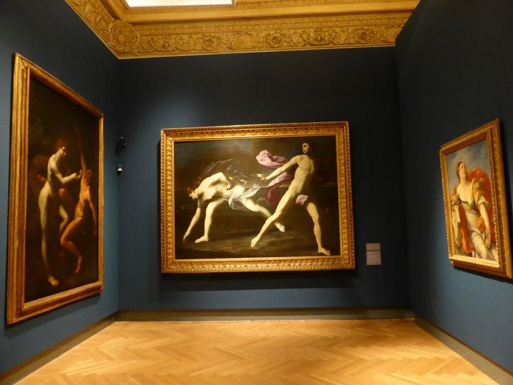 Guido Reni, Apollon écorchant Marsyas / Atalante et Hippomène / atelier de Guido Reni, Le Rapt d'Europe © photographies Le curieux des arts Gilles Kraemer