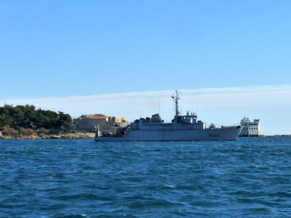 ORION  M645,  chasseur de mines type tripartie en petite rade de Toulon le 15 janvier 2016