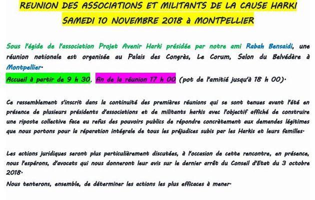 Rassemblement Harkis le samedi 10 novembre 2018 au palais des congrés à Montpellier (34)