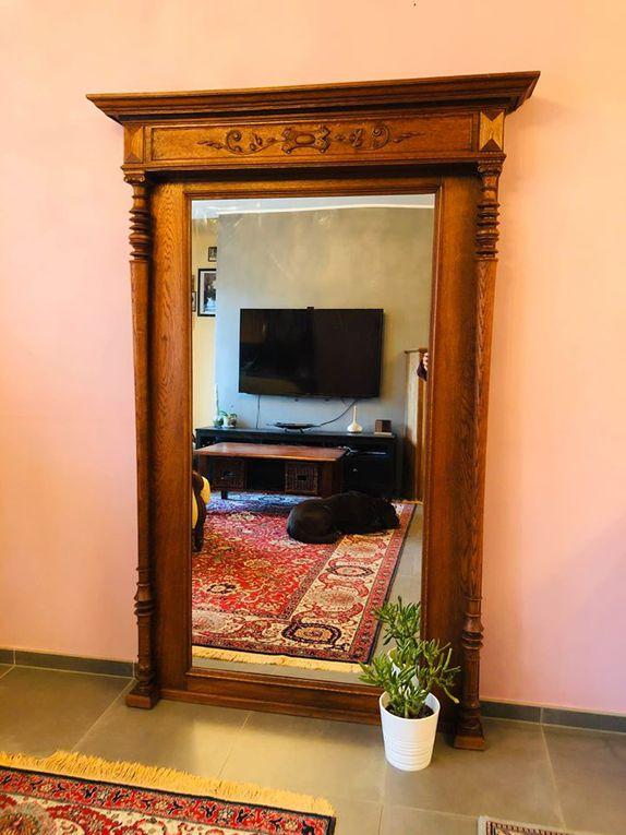 Très grand miroir ancien en bois massif- rare (Vendu)