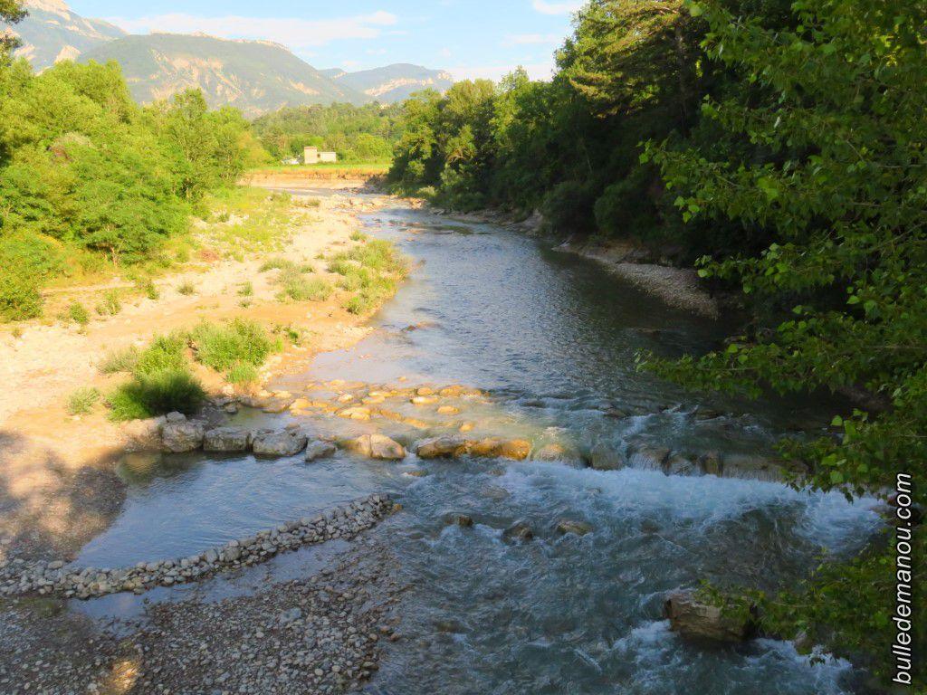 La rivière Drôme telle qu'elle était début juillet