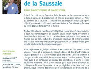 COMMUNIQUE DES AMIS DU DOMAINE DE LA SAUSSAIE A VERT-LE-GRAND
