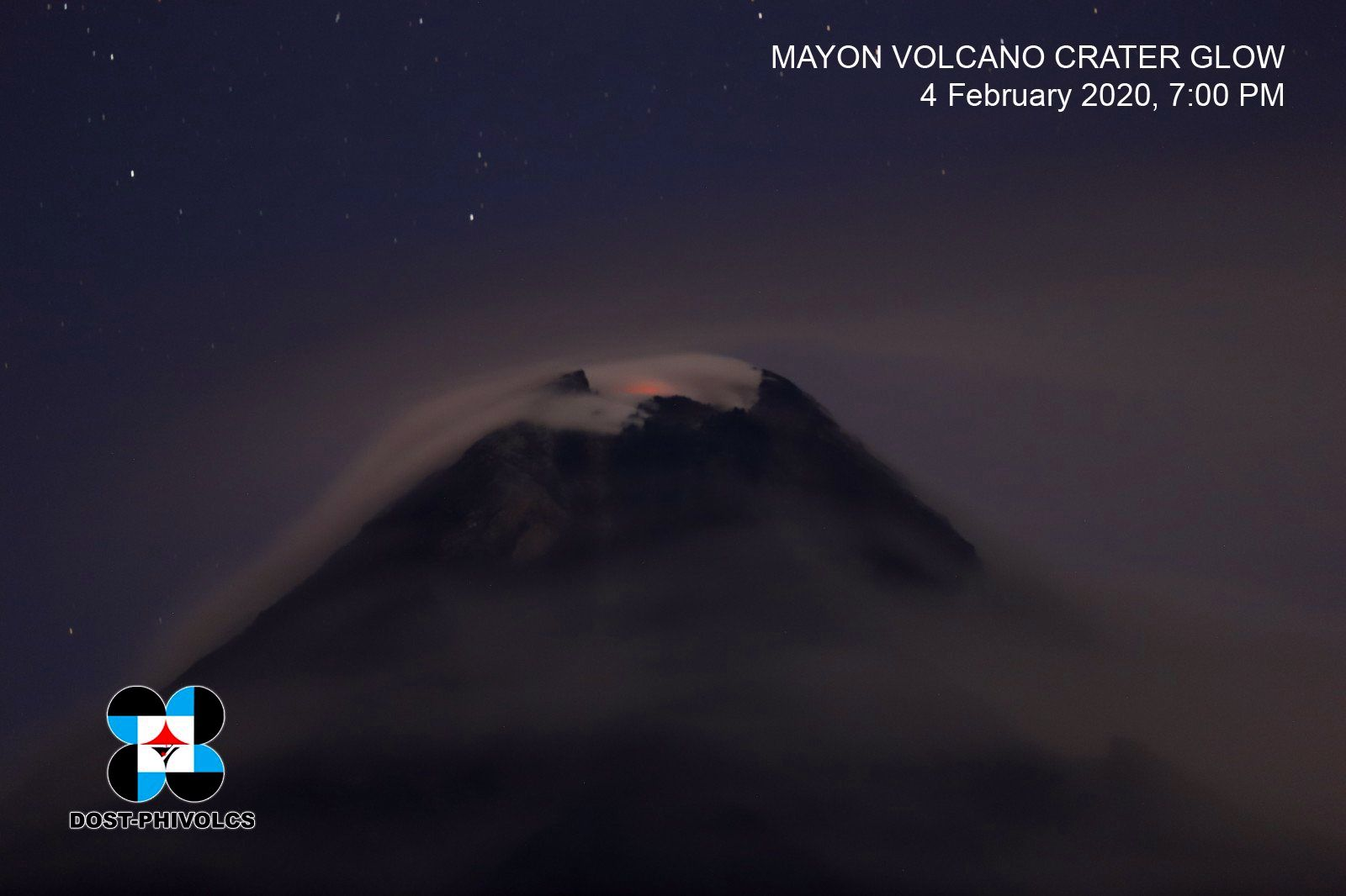Mayon - degassing and night glow - photo archives 04.02.2020 / Dost-Phivolcs