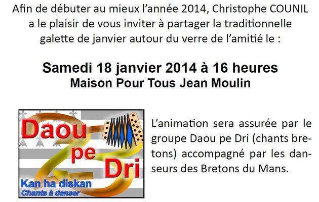Christophe COUNIL vous invite à la cérémonie des voeux du canton Le Mans Sud-Est le samedi 18 janvier à la MPT Jean Moulin.
