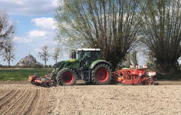 On poursuit les travaux des champs avec les semis de maïs, et quoi de plus naturel que Le Mont-Saint-Michel en arrière plan ! ✨🌽 ☀️