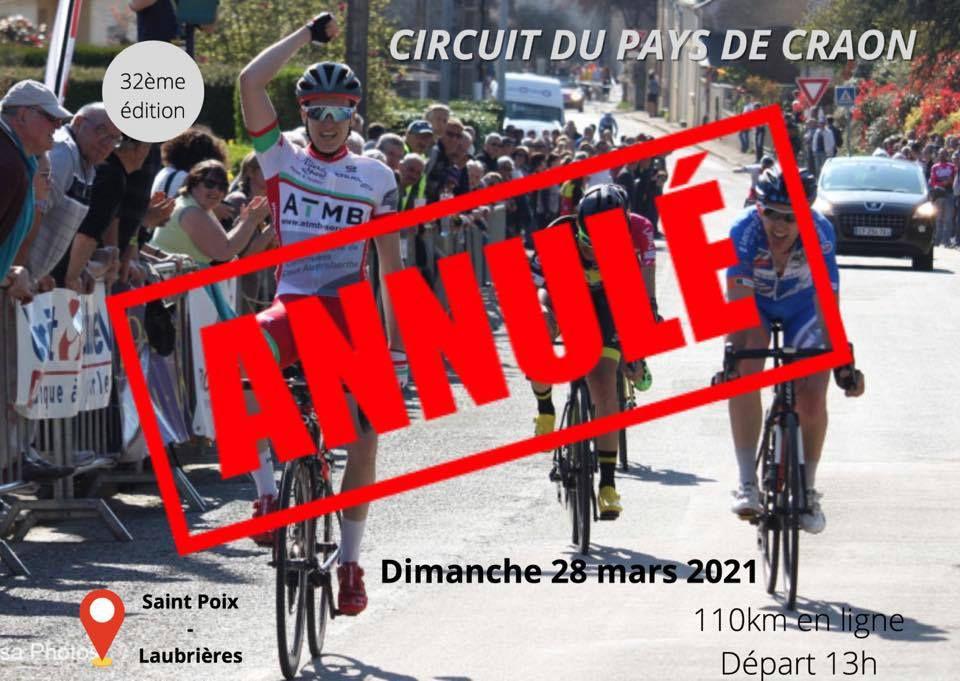 Le Circuit du Pays de Craon est annulé